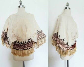 ON SALE 1960s Vintage Women's Fringed Dashiki Tunica Top