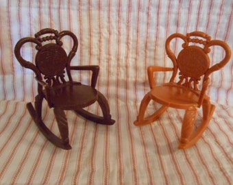 RESERVED Two Plastic Doll Rocking Chairs