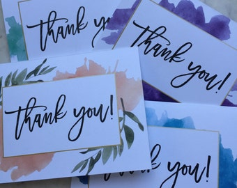 Watercolor Thank You Cards - Set of 12
