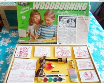 ON SALE Wood Burning  Set, ATF Toys, Childs New Old Stock, Vintage, Hobby Kit, Woodburning Set by American Toys and Furniture Company, 1950'