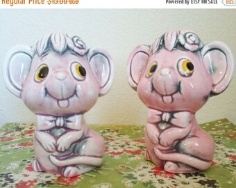 ON SALE Vintage Ceramic Pink Mice  Salt and Pepper Shakers  Made in Japan Kitsch