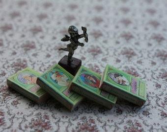 Dollhouse miniature CASANOVA'S books and angel's statue OOAK