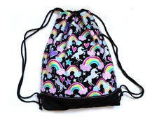 Draw string bag gym bag rainbows and unicorns kawaii glitter