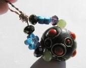 Whimsical Kashmiri Bead, Flower Polymer Clay Beads and Purple & Green Crystal Beads Pendant