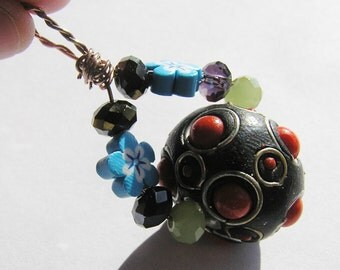 Whimsical Kashmiri Bead, Flower Polymer Clay Beads and Purple & Green Crystal Beads Pendant