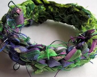 OOAK Reversible Reclaimed Sari Silk Crocheted Bracelet: Kelly Green, Purple, Pink