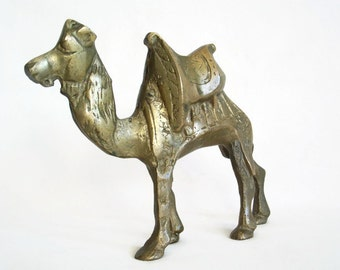 Dromedary camel vintage brass heavy 5'' figure, One humped dromedary with saddle. North African, bedouin decor, Old nativity set figurine