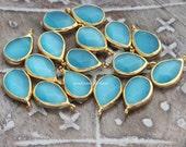 blue cat eye faceted drop charm gold plated teardrop pendant bezel cateye earrings beads