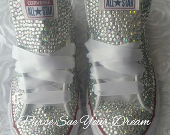 Custom Bridal Swarovski Crystal Converse Wedding Shoes - Swarovski Crystal Wedding Shoes - Swarovski Rhinestone Converse - Bride Shoes