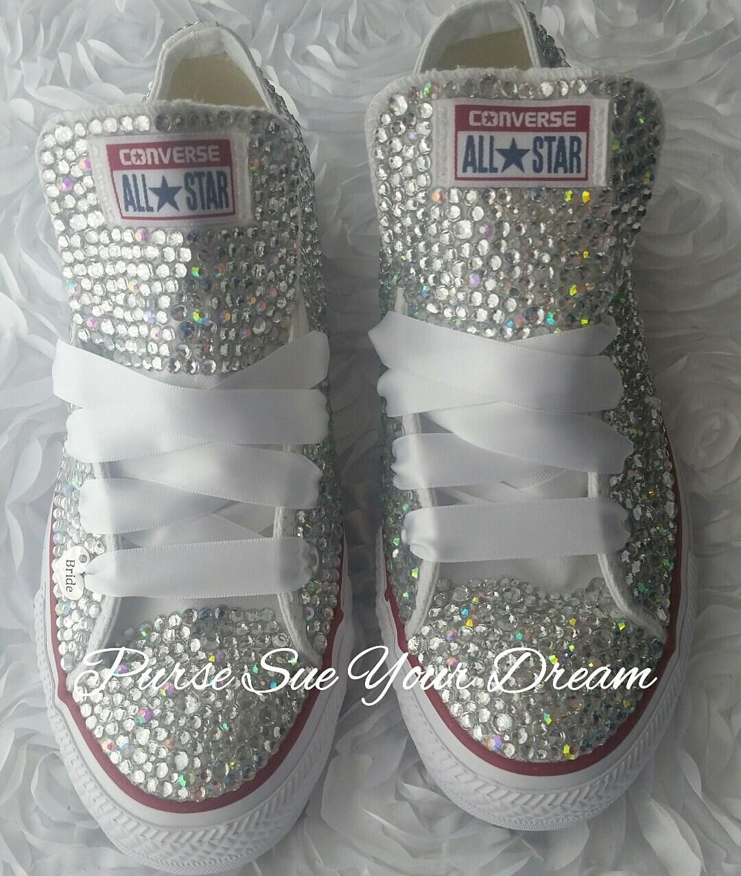 Custom Made Bridal Shoes Uk: Custom Bridal Swarovski Crystal Converse Wedding Shoes