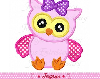 Instant Download Baby Owl For Girls Applique Embroidery Design NO:2015
