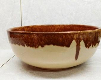 "Vintage Watt Pottery Bowl Yellow Ware Salad Oven Ware Brown Drip Stoneware 9.5"""
