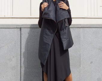 NEW  AW Asymmetric Extravagant Black Sleeveless Quilted Coat / Warm Waterproof  / Windproof Vest by Aakasha A02518