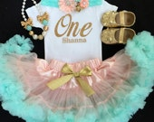 Under The Sea/Litlte Mermaid/Gold ONE/First Birthday/Pettiskirt /Peach and Mint/Mint and Gold birthday /Baby Girl Birthday/Mint Pettiskirt