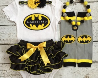 Superhero/Bat Girl bloomer set/Black Bloomer/First Birthday/First Halloween/Milestone/Pageant/CakeSmash/PhotoProp