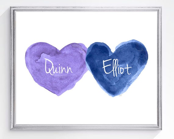 Purple and Navy Print for Siblings, 8x10 Personalized