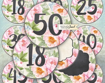 Numbers for Birthday  and Anniversary - 2.5 inch circles - set 2 sheet - pocket mirrors, tags, scrapbooking, cupcake toppers