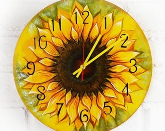 The Sunflower Wall Clock, Modern wall clock with numbers, White wall clock, wood clock, kids gift, wedding gift, for Office, Kitchen style.