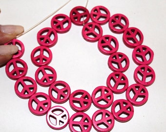 15 mm Pink Turquoise Magnesite Peace Sign Beads