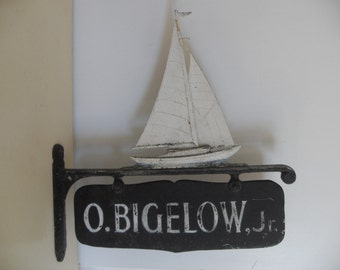 Vintage  Cast Aluminum House/Camp Name Sign,Hanging Plaque  SAILBOAT