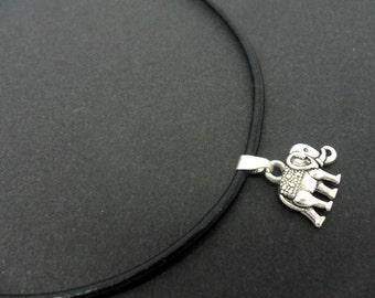 "A leather cord 13"" - 14"" tibetan silver elephant charm choker necklace."