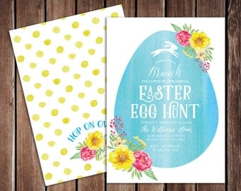 Easter Brunch and Easter Egg Hunt Invitation 5x7 Double Sided PDF Digital File - Easter Bunny Water Color Floral Invitation