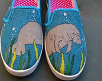Manatee Hand Painted Canvas Shoes  Order your custom size kids to Adult Sea Cow Florida River