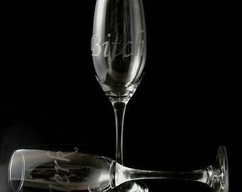 Bitch Jerk - Supernatural - Hand Drawn - Etched Glass set of 2 - Champagne Flutes