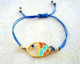 Fish Bracelet, adjustablue bracelet, mint green bracelet, coral bracelet, blue bracelet, macramé bracelet, knotted bracelet, cord bracelet