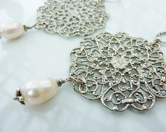 Silver Antique Filigree Medallion with Ivory Freshwater Pearl Earrings