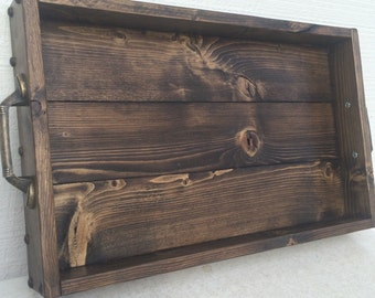Rustic wood serving tray with handles, breakfast in bed, wedding gift