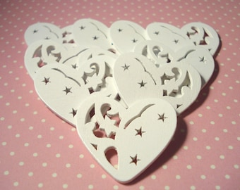 33mm x 32mm White Heart Wood Embellishments Pack of 12 White Angel Christmas Shapes CR38
