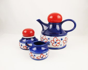 A 'Zell am Harmersbach' Tea Set From West Germany  - 'Linda' Pattern - Teapot/Coffeepot, Lidded Sugar Bowl and Creamer - West German Pottery