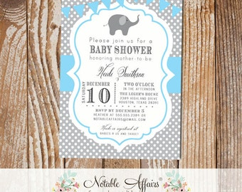 Gray and Ice Blue Polka Dot Elephant Baby Boy Birthday Shower Invitation with bunting - choose colors