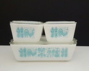 Pyrex Butterprint Refrigerator Set Amish #501, #502, #503 Set of 8