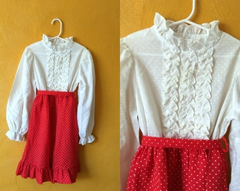 Vintage red and white dot dress with ruffles and sash, retro girls dress, 70s vintage, toddler vintage, party dress Size 6/7T