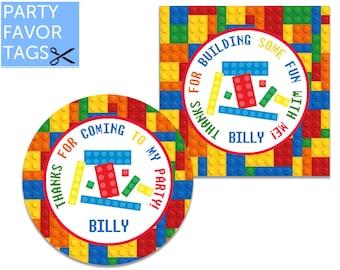 Building Blocks Party Favor Tags - Building Blocks Favor Tags, Blocks Tags, Thank You Tag, Gift Tags, Printable Favor Tag