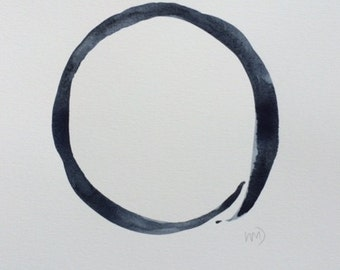 Circle painting - original art - 9x12 inch - Midnight blue - zen art - minimalist art - modern painting