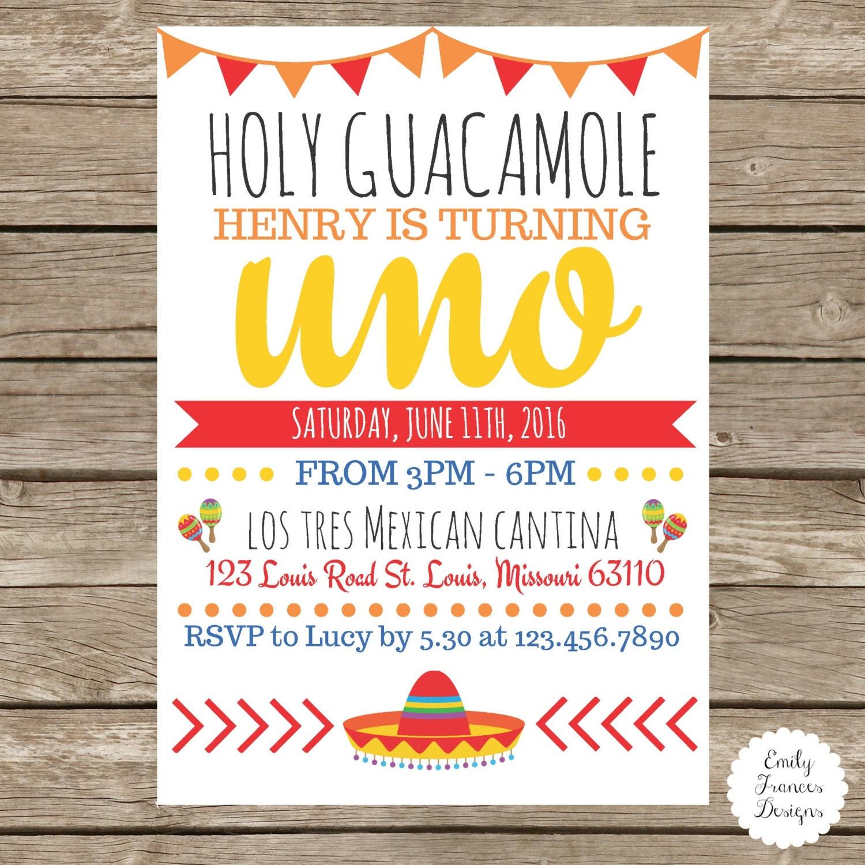 Holy Guacamole Birthday Party Invitation Fiesta Themed