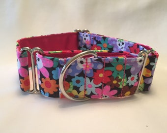 "1.5"" Skulls and Flowers Martingale Collar"