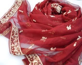 Small Red Shawl, Tulle Scarf, Embroidered Beaded Indian Scarves Vintage Sari Holiday Festive Party Wrap Maroon Netting Sheer Light Stole