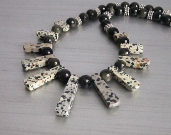 Dalmatian Jasper Spike Necklace Golden Obsidian Statement Necklace Gemstone Jewellery Tribal Style Bib Jewellery Gemstone Necklace