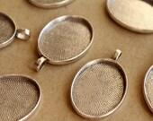 6 pc. Oval Antique Silver Pendant Bezel Setting, 22mm x 30mm diameter | FI-248