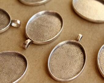 6 pc. Oval Antique Silver Pendant Bezel Setting, 22mm x 30mm diameter- FI-248