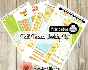 PRINTABLE Happy Planner FALL FOXES Weekly Kit- Fox