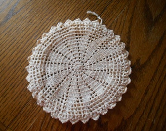 7 in diameter crochet lid cover / doily