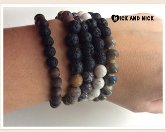 Aromatherapy lava bead diffuser bracelet for essential oils - white beads