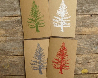 Colourful Recycled Christmas Tree Cards- Pack of 4