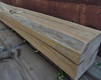 "Reclaimed Fireplace Mantel 62"" x 8"" x 8"" - Rustic Mantle Shelf - Barn Beam Mantel - Over 100 Year Old Barnwood - Rustic Decor - Home Decor"