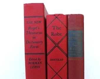 Red Three Book Bundle / Vintage Books / Book Decor / Instant Library / Book Bundle / Home Decor / Library Filler / Wedding Decor/Photo Prop